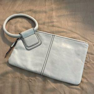 HOBO Sable Ring Handle Wristlet Cream Leather Bag